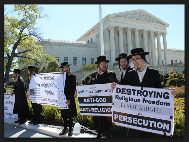 Orthodox Jews protesting outside the Supreme Court during Same-Sex Marriage debate.